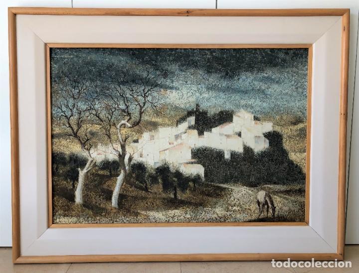 Arte: ANDALUCÍA: PUEBLO BLANCO por Joaquín Cañete Babot (1933, Jerez de la Frontera, Cádiz) - Foto 2 - 214376676