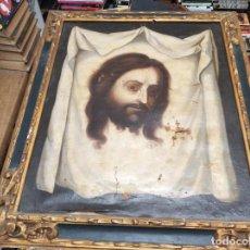 Arte: IMPRESIONANTE ÓLEO ANTIGUO EN TELA DE LA SANTA FAZ ,SIGLO XVII-XVIII. 67 X 57 CM. PIEZA DE MUSEO.. Lote 174997974