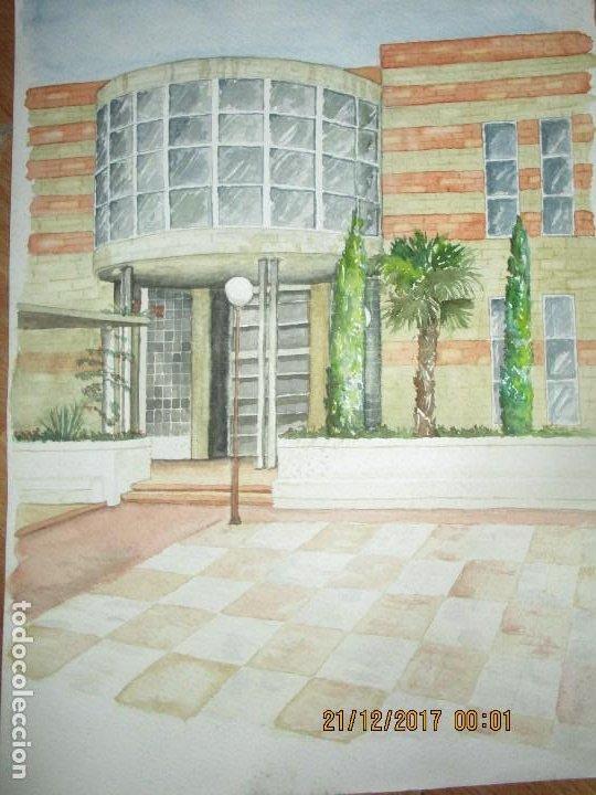 GRAN Y ANTIGUA ACUARELA EDIFICIO DE PROVINCIA EN ALIACNTE AUTOR DESCONOCIDO (Arte - Pintura - Pintura al Óleo Contemporánea )