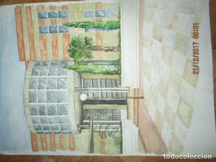 Arte: GRAN Y ANTIGUA ACUARELA EDIFICIO DE PROVINCIA EN ALIACNTE AUTOR DESCONOCIDO - Foto 2 - 214442335