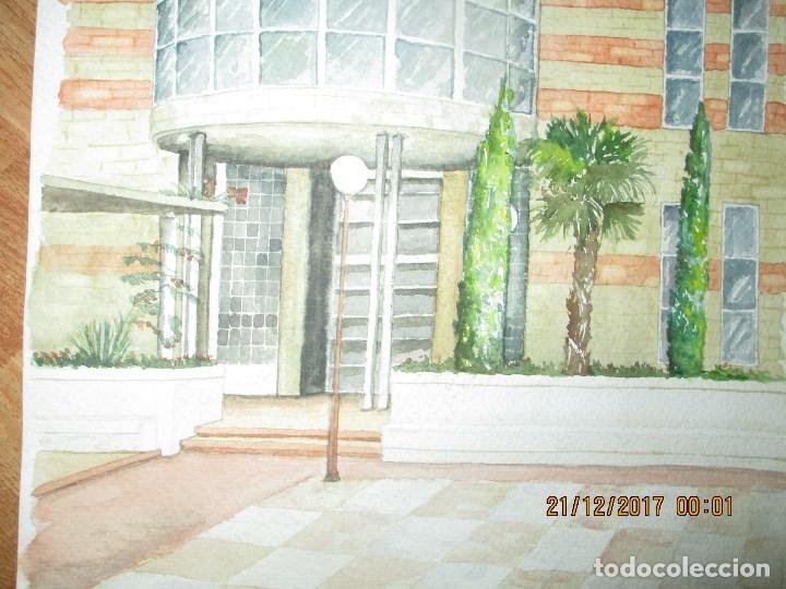 Arte: GRAN Y ANTIGUA ACUARELA EDIFICIO DE PROVINCIA EN ALIACNTE AUTOR DESCONOCIDO - Foto 3 - 214442335