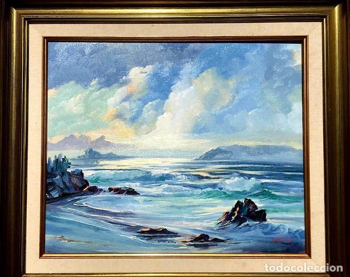 ÓLEO CON MARINA DEL PINTOR JOAN DURANY (POBLA DE SEGUR 1927) (Arte - Pintura - Pintura al Óleo Contemporánea )