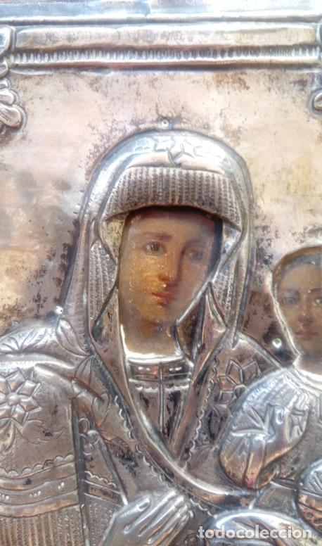 Arte: ÓLEO SOBRE TABLA, ENMARCADO EN PLATA LABRADA CONTRACTADA. ICONO RUSO XVIII. DIM.- 18.5X15 CMS. - Foto 3 - 214507918