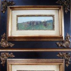 Art: MARCELINO DE UNCETA (1835-1905). PAREJA DE TABILLAS PINTADAS CON ESCENAS MILITARES.. Lote 214388740