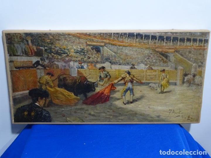 EXCELENTE ÓLEO SOBRE TELA DE TOMÀS MARTIN REBOLLO (GRANADA 1858-MADRID 1919).TOROS EN SEVILLA. (Arte - Pintura - Pintura al Óleo Contemporánea )