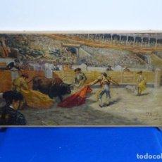 Arte: EXCELENTE ÓLEO SOBRE TELA DE TOMÀS MARTIN REBOLLO (GRANADA 1858-MADRID 1919).TOROS EN SEVILLA.. Lote 214571292