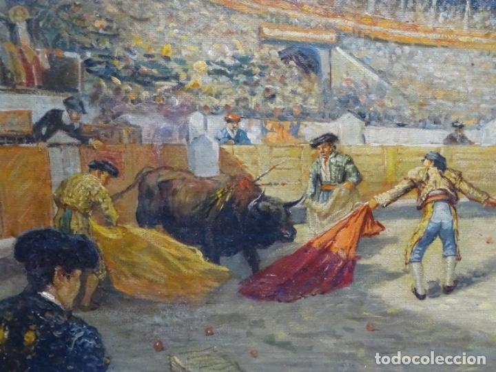 Arte: Excelente Óleo sobre tela de Tomàs martin rebollo (Granada 1858-madrid 1919).toros en sevilla. - Foto 2 - 214571292