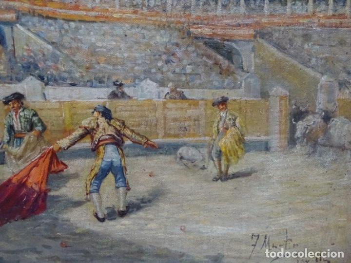 Arte: Excelente Óleo sobre tela de Tomàs martin rebollo (Granada 1858-madrid 1919).toros en sevilla. - Foto 3 - 214571292
