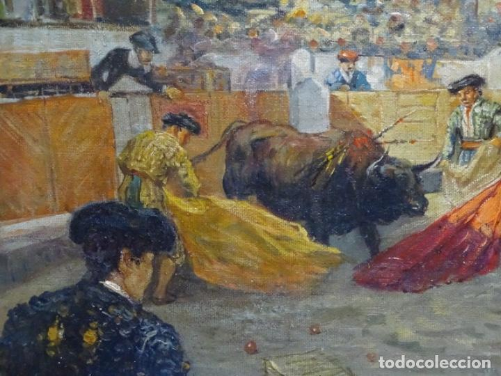 Arte: Excelente Óleo sobre tela de Tomàs martin rebollo (Granada 1858-madrid 1919).toros en sevilla. - Foto 4 - 214571292