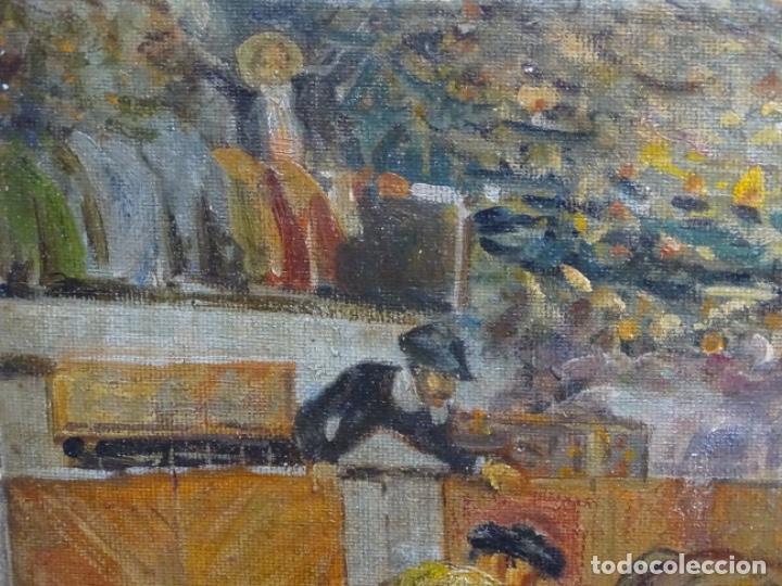 Arte: Excelente Óleo sobre tela de Tomàs martin rebollo (Granada 1858-madrid 1919).toros en sevilla. - Foto 5 - 214571292