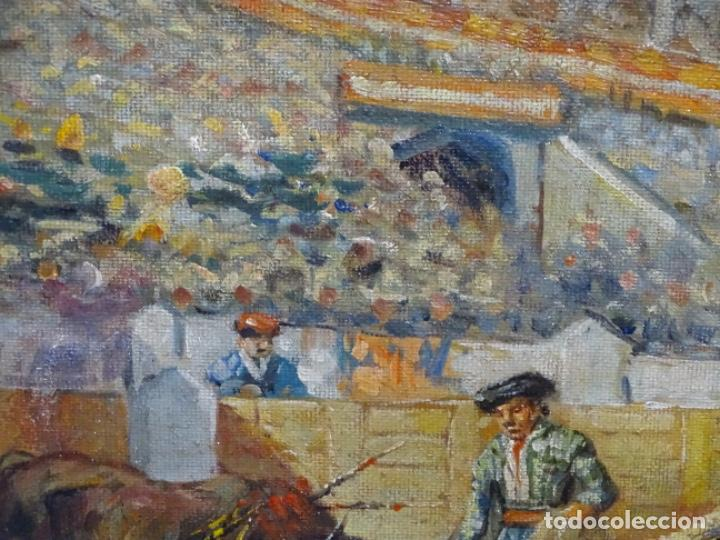 Arte: Excelente Óleo sobre tela de Tomàs martin rebollo (Granada 1858-madrid 1919).toros en sevilla. - Foto 6 - 214571292