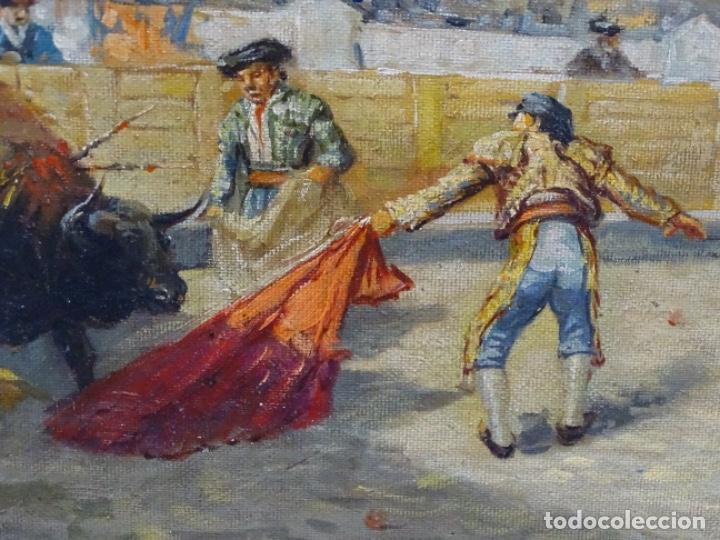 Arte: Excelente Óleo sobre tela de Tomàs martin rebollo (Granada 1858-madrid 1919).toros en sevilla. - Foto 7 - 214571292