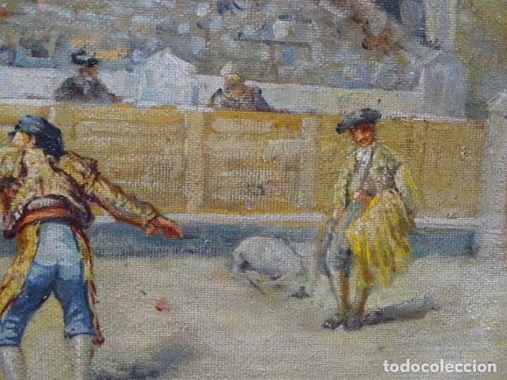 Arte: Excelente Óleo sobre tela de Tomàs martin rebollo (Granada 1858-madrid 1919).toros en sevilla. - Foto 8 - 214571292