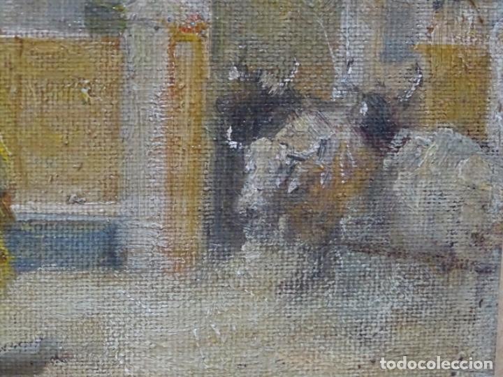 Arte: Excelente Óleo sobre tela de Tomàs martin rebollo (Granada 1858-madrid 1919).toros en sevilla. - Foto 9 - 214571292