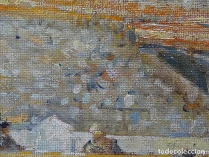 Arte: Excelente Óleo sobre tela de Tomàs martin rebollo (Granada 1858-madrid 1919).toros en sevilla. - Foto 10 - 214571292