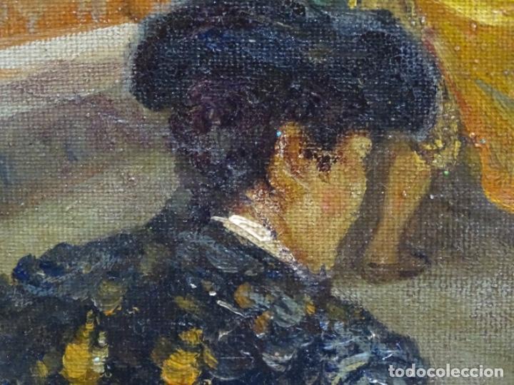 Arte: Excelente Óleo sobre tela de Tomàs martin rebollo (Granada 1858-madrid 1919).toros en sevilla. - Foto 11 - 214571292