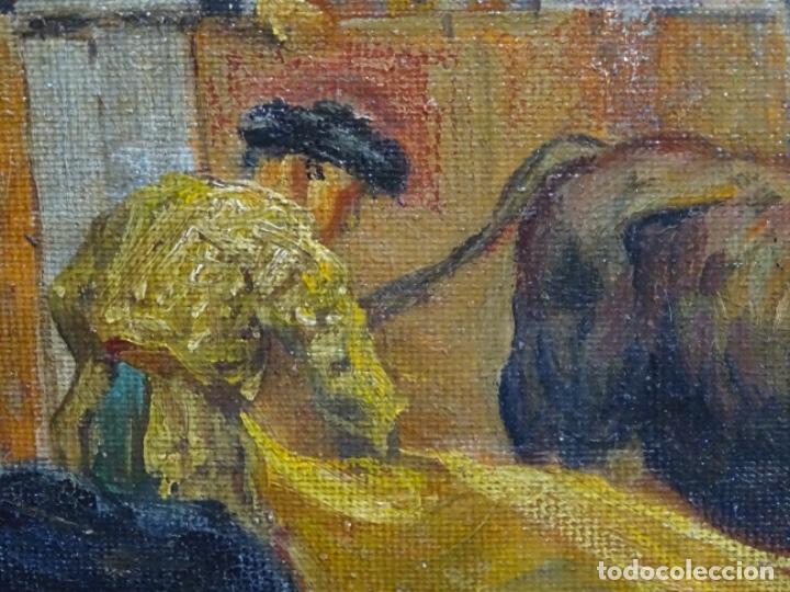 Arte: Excelente Óleo sobre tela de Tomàs martin rebollo (Granada 1858-madrid 1919).toros en sevilla. - Foto 12 - 214571292