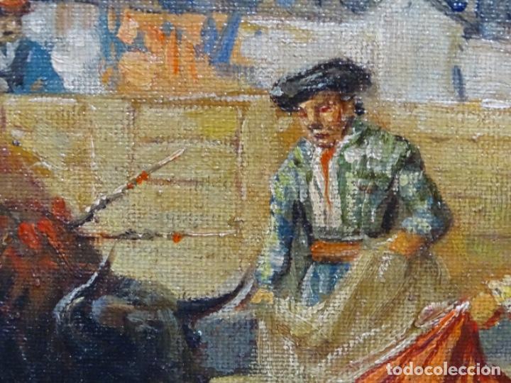 Arte: Excelente Óleo sobre tela de Tomàs martin rebollo (Granada 1858-madrid 1919).toros en sevilla. - Foto 13 - 214571292