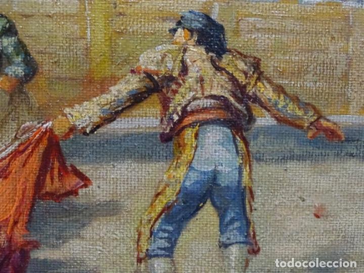 Arte: Excelente Óleo sobre tela de Tomàs martin rebollo (Granada 1858-madrid 1919).toros en sevilla. - Foto 14 - 214571292
