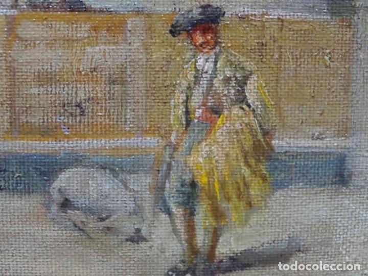 Arte: Excelente Óleo sobre tela de Tomàs martin rebollo (Granada 1858-madrid 1919).toros en sevilla. - Foto 15 - 214571292