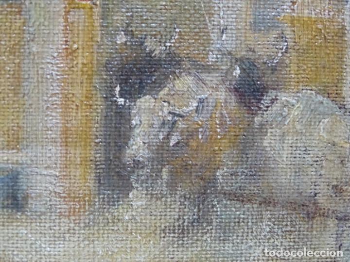 Arte: Excelente Óleo sobre tela de Tomàs martin rebollo (Granada 1858-madrid 1919).toros en sevilla. - Foto 16 - 214571292