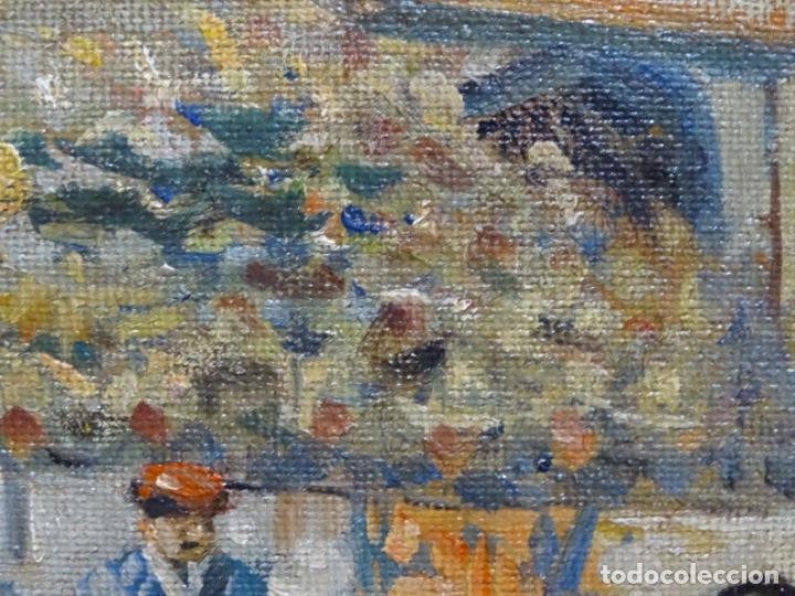 Arte: Excelente Óleo sobre tela de Tomàs martin rebollo (Granada 1858-madrid 1919).toros en sevilla. - Foto 17 - 214571292