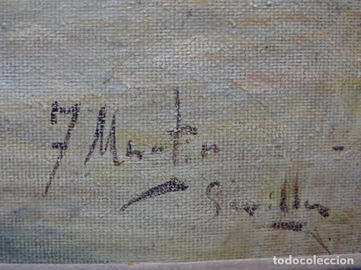 Arte: Excelente Óleo sobre tela de Tomàs martin rebollo (Granada 1858-madrid 1919).toros en sevilla. - Foto 18 - 214571292