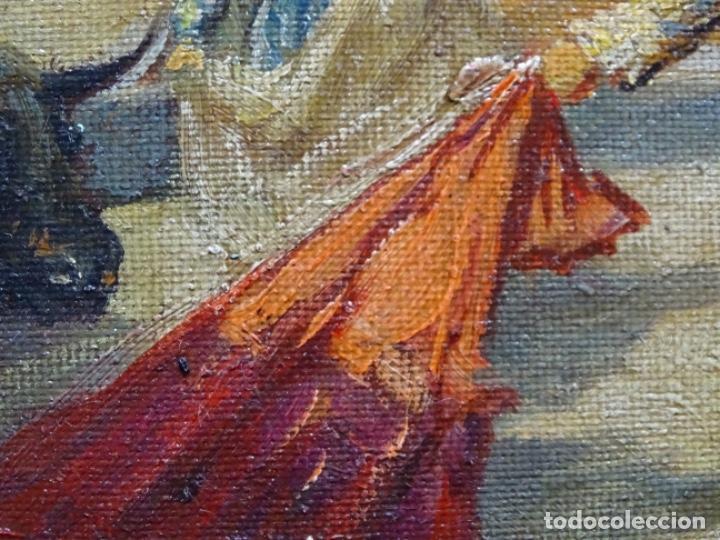 Arte: Excelente Óleo sobre tela de Tomàs martin rebollo (Granada 1858-madrid 1919).toros en sevilla. - Foto 19 - 214571292