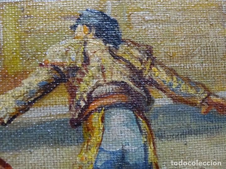 Arte: Excelente Óleo sobre tela de Tomàs martin rebollo (Granada 1858-madrid 1919).toros en sevilla. - Foto 20 - 214571292