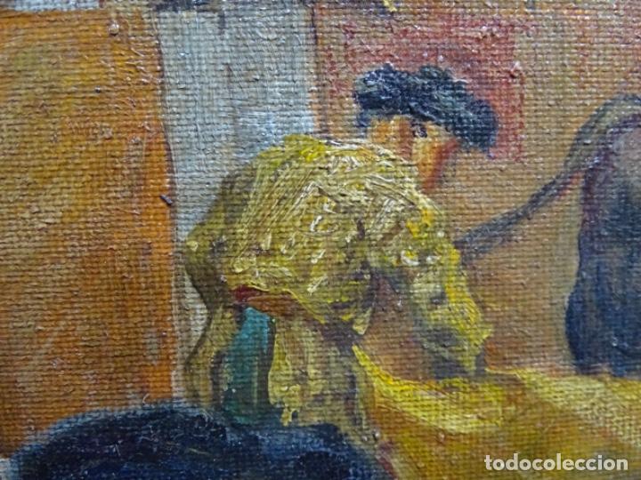 Arte: Excelente Óleo sobre tela de Tomàs martin rebollo (Granada 1858-madrid 1919).toros en sevilla. - Foto 21 - 214571292