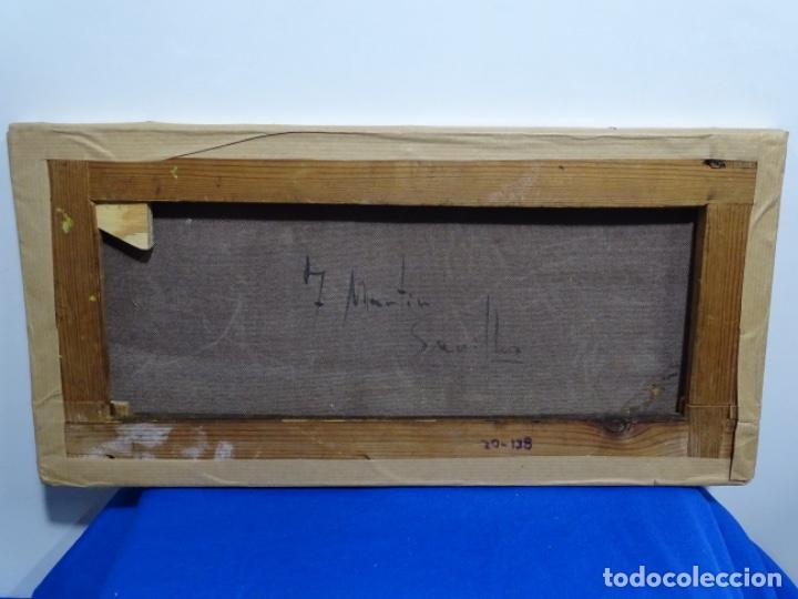 Arte: Excelente Óleo sobre tela de Tomàs martin rebollo (Granada 1858-madrid 1919).toros en sevilla. - Foto 22 - 214571292
