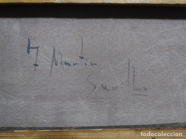 Arte: Excelente Óleo sobre tela de Tomàs martin rebollo (Granada 1858-madrid 1919).toros en sevilla. - Foto 23 - 214571292