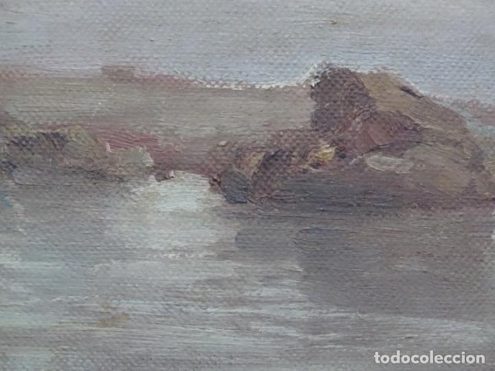 Arte: Óleo sobre tela pegado a tablex de escuela catalana. - Foto 5 - 214574320