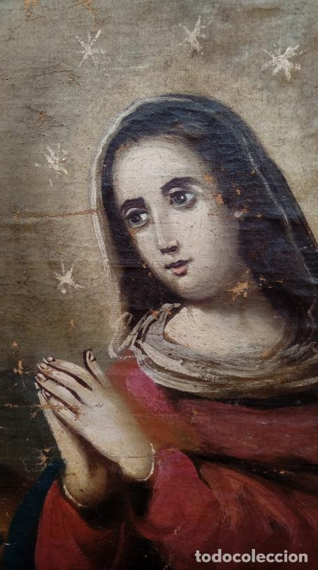 Arte: ÓLEO S/LIENZO -ANUNCIACIÓN-, ESCUELA BARROCA SEVILLANA, SIGLO XVIII. DIM.- 90.5X70 CMS. . - Foto 6 - 160578086
