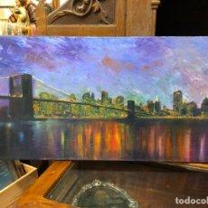Arte: OLEO SOBRE LIENZO PAISAJE NEW YORK - MEDIDA 80X40 CM. Lote 214657247