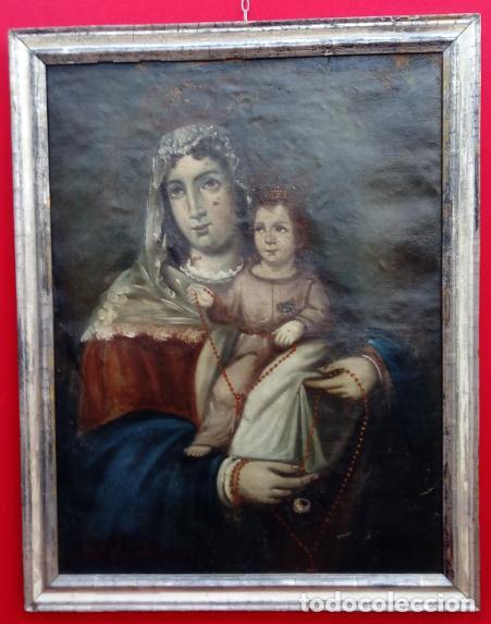 ÓLEO S/LIENZO -VIRGEN DEL ROSARIO CON NIÑO, CORONADOS-. MARCO PLATA CORLADA DE ÉPOCA. 79,5X62,5 CMS. (Arte - Pintura - Pintura al Óleo Antigua siglo XVII)
