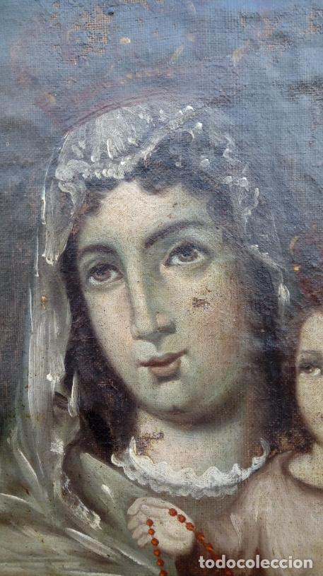 Arte: ÓLEO S/LIENZO -VIRGEN DEL ROSARIO CON NIÑO, CORONADOS-. MARCO PLATA CORLADA DE ÉPOCA. 79,5X62,5 CMS. - Foto 5 - 196957617
