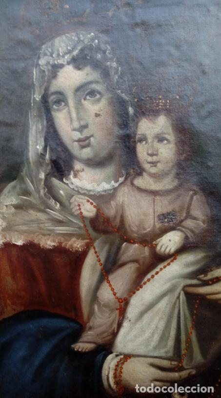 Arte: ÓLEO S/LIENZO -VIRGEN DEL ROSARIO CON NIÑO, CORONADOS-. MARCO PLATA CORLADA DE ÉPOCA. 79,5X62,5 CMS. - Foto 7 - 196957617