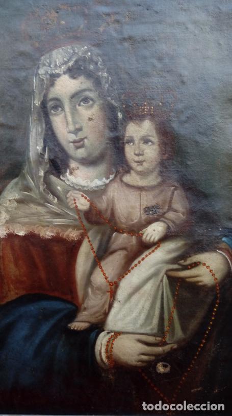Arte: ÓLEO S/LIENZO -VIRGEN DEL ROSARIO CON NIÑO, CORONADOS-. MARCO PLATA CORLADA DE ÉPOCA. 79,5X62,5 CMS. - Foto 8 - 196957617