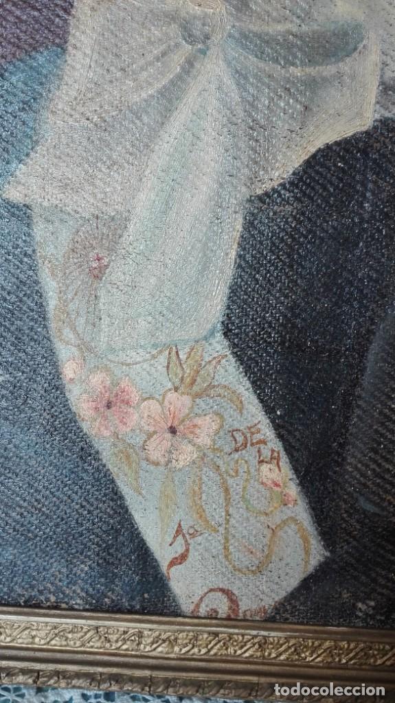 Arte: Retrato de la primera comunión firmado Anatolio Simón 1918 óleo sobre lienzo - Foto 3 - 214729785