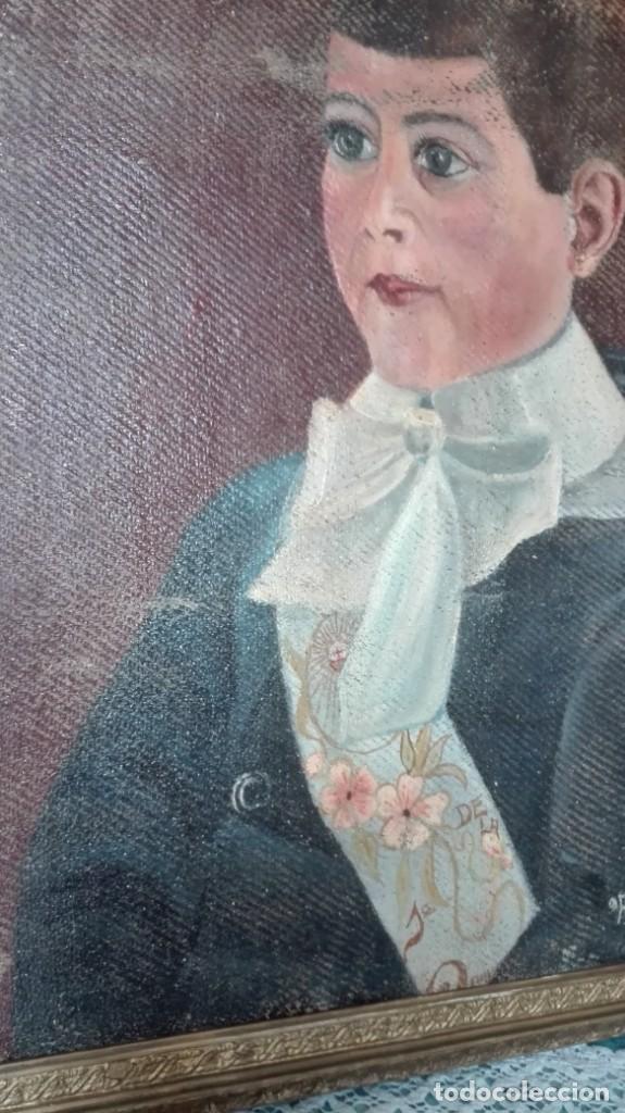 Arte: Retrato de la primera comunión firmado Anatolio Simón 1918 óleo sobre lienzo - Foto 4 - 214729785