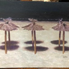 Arte: OLEO SOBRE TABLA FIRMADO ANDRES - SOMBRILLAS PLAYA DE LA VICTORIA DE CADIZ - MEDIDA 33X24 CM. Lote 214730131