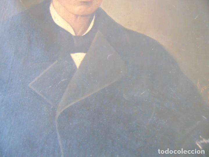 Arte: PINTURA OLEO SOBRE LIENZO RETRATO DE CABALLERO FIRMADO FRANCISCO TRISTAN 1876 SEVILLA RESTAURAR - Foto 9 - 214810467