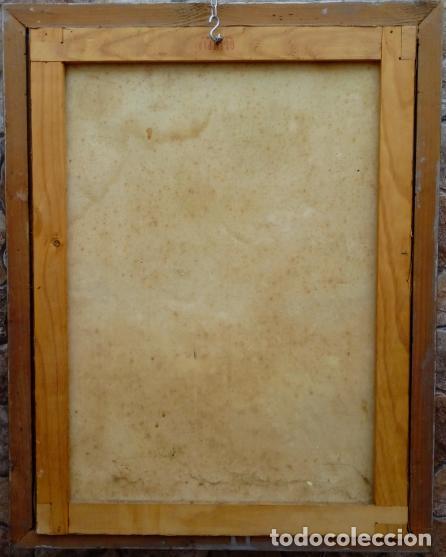 Arte: ÓLEO S/LIENZO -VIRGEN DEL ROSARIO CON NIÑO, CORONADOS-. MARCO PLATA CORLADA DE ÉPOCA. 79,5X62,5 CMS. - Foto 10 - 196957617