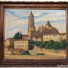 Arte: ÓLEO CATEDRAL DE SEGOVIA-ADOLFO MONCLÚS 1948. Lote 214881758