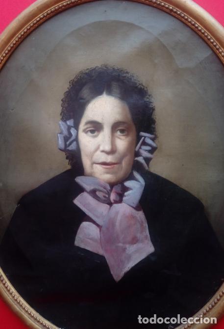 Arte: PAREJA DE RETRATOS ENMARCADOS, DEL S. XIX -CÍRCULO DE A. M. ESQUIVEL-.ÓLEO S/LIENZO. DIM.- 70X59 CMS - Foto 3 - 27147683