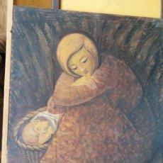 Arte: ORIGINAL. OBRA REALIZADA POR FRANCESC GASSÓ. MUJER Y NIÑO DESCANSANDO. MEDIDAS 61*76 CM. Lote 215002705
