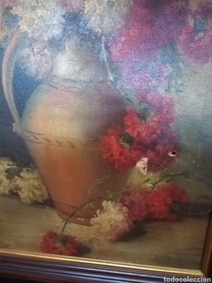 Arte: Bonito bodegón de flores XlX firmado óleo sobre lienzo - Foto 3 - 215063595
