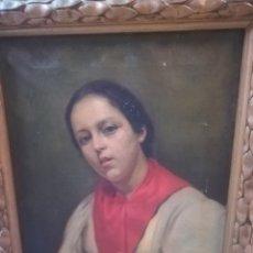 Arte: LINDO RETRATO DE JOVEN XIX DEL PINTOR JOAN BAIXAS CARRETER 1863-1925. Lote 215066817