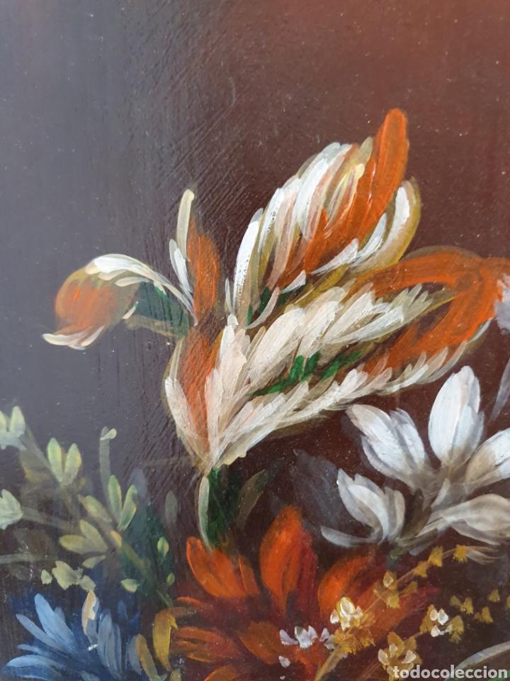 Arte: PRECIOSA PAREJA DE BODEGONES DE FLORES PINTADOS AL OLEO SOBRE TABLA - Foto 3 - 98189592